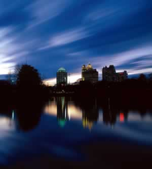 Midtown Atlanta's dramatic skyline overlooks the peacefulness of Piedmont Park. Photo by Richard T. Bryant. Email richard_t_bryant@mindspring.com.