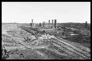 Ruins of Hood's 28-car ammunition train and the Schofield Rolling Mill.