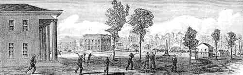 Union infantry enter town next to the Masonic building in Sandersville.