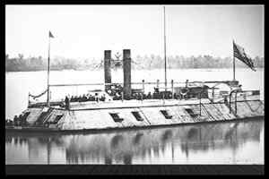 The first ironclad gunboat built in America, The St. Louis.