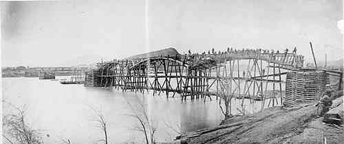 Federal engineers bridging the Tennessee River at Chattanooga, March 1864.