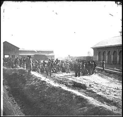 Confederate prisoners at the railroad depot in Chattanooga.
