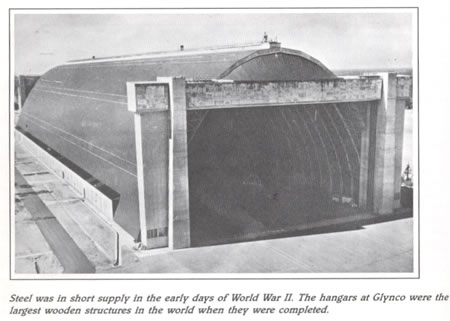 Steel was in short supply in the early days of World War II. The hangars at Glynco were the largest wooden structures in the world when they were completed.