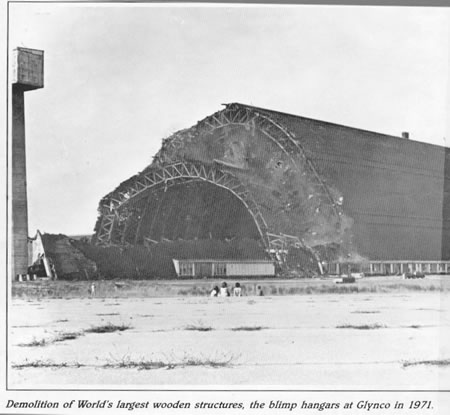 Demolition of World's largest wood structures, the blimp hangars at Glynco in 1971.