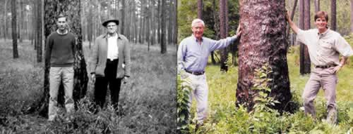 Left photo: Neel and lumber company owner N.F. Keadle on the Wade Tract in 1963.  Right: Neel and Beau Turner at Greenwood Plantation.. Right photo by Julie Neel.