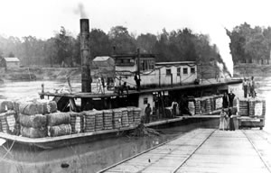 The John R. Sharpe loading cotton at Bainbridge. Steamboats transported agricultural products downstream to Appalachicola, Florida and returned with goods for southwest Georgia. Click to enlarge.